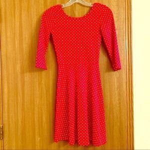 Rue21 Long Sleeved Red & White Polka Dot Dress XS